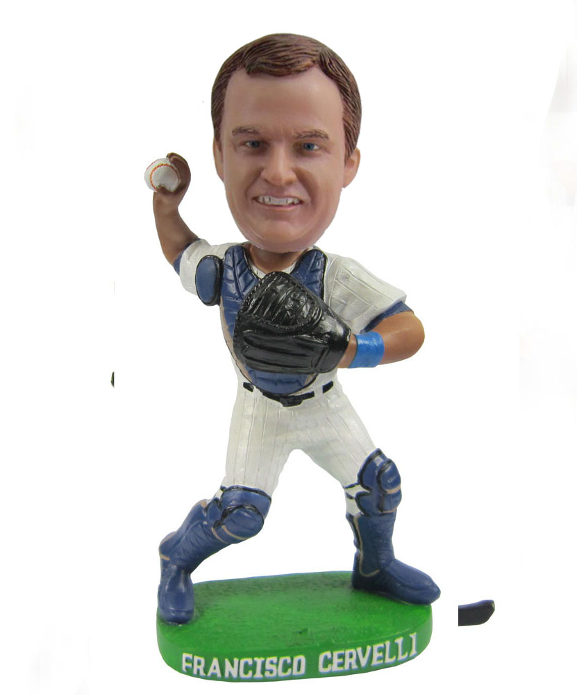 Custom baseball bobbleheads in white and blue