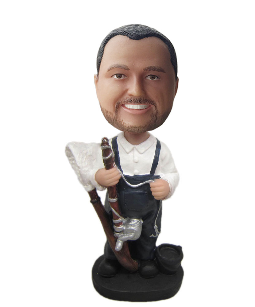 bobblehead dolls custom dressed in black suspenders