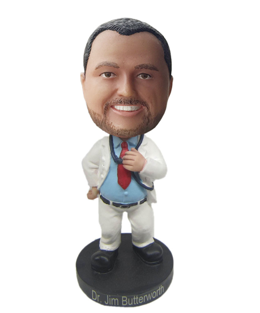 customized doctor bobble heads with white coat and pants