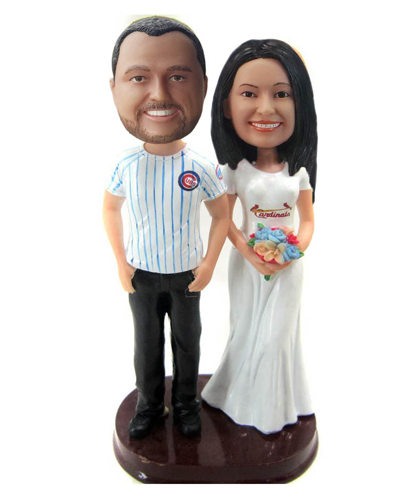 Custom Funny Baseball Fan Couple Wedding Cake Topper Bobbleheads