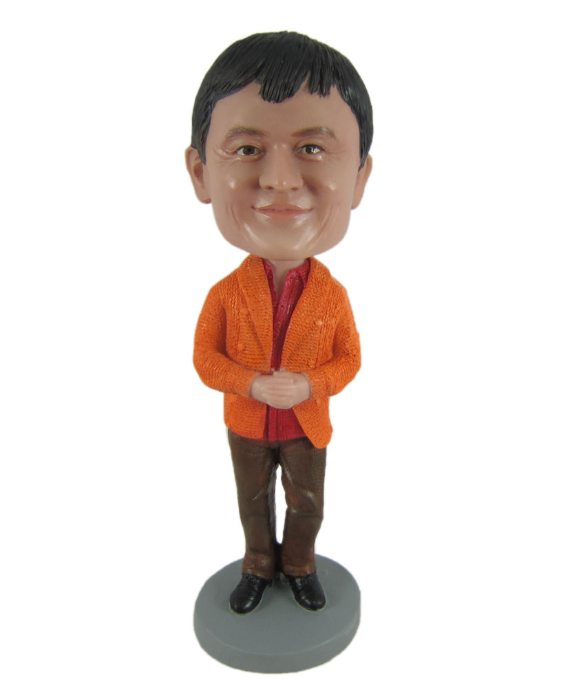 customized bobble heads with orange shirt and blown trousers