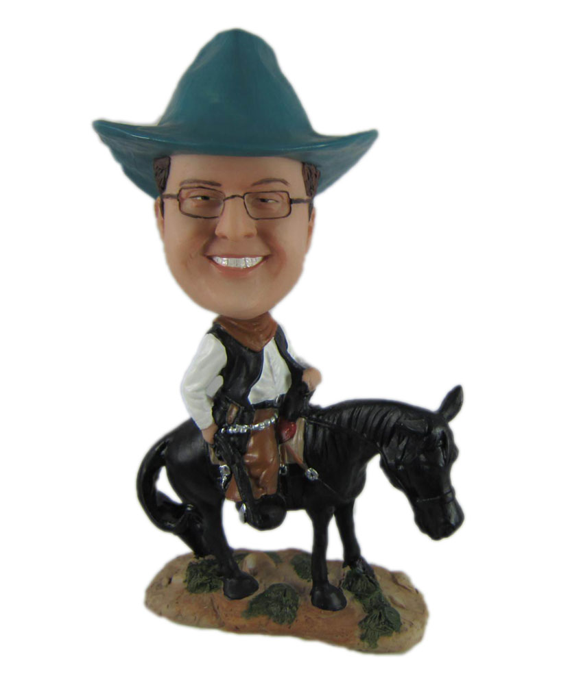 Special bobbleheads riding on a donkey