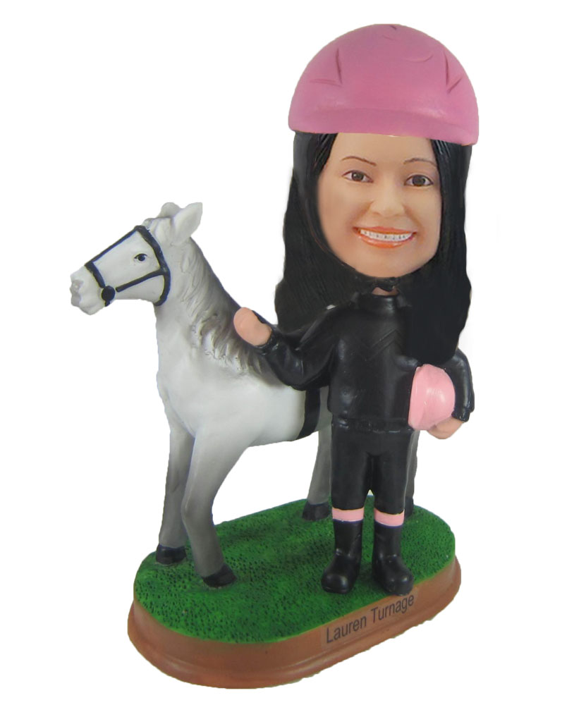 Custom Riding girl  Bobble Head Female Riding girl Doll F928