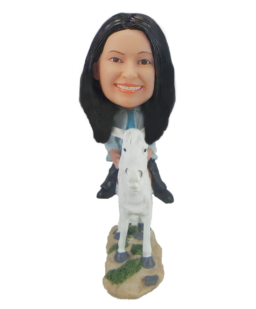 Custom Riding White Horse Girl  Bobble Head Female Riding White Horse Girl  Doll F927
