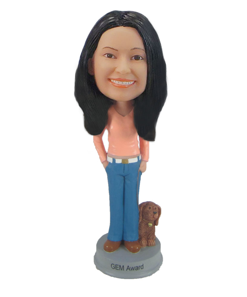 Custom Girl With Puppy Bobble Head Female Girl Walking The Dog Doll F916