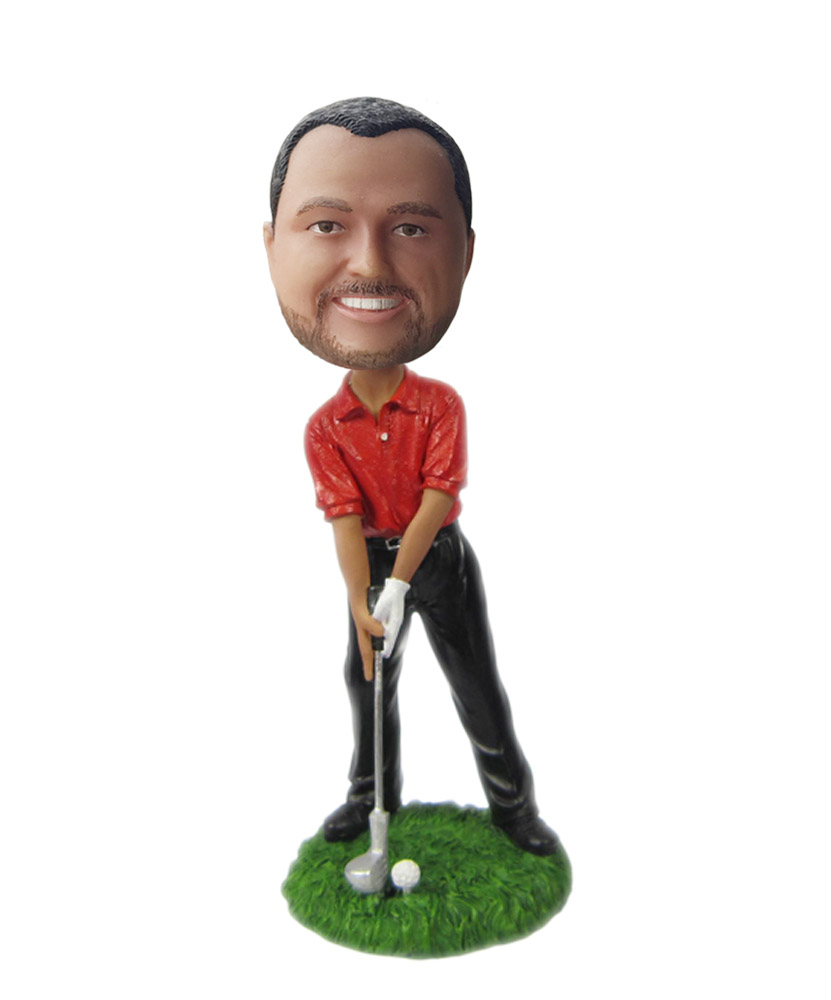 Golfer Leaning On Club bobblehead Doll  S203