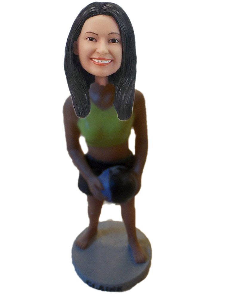 Female Basketball Player With Basketball Bobble Head Doll S226