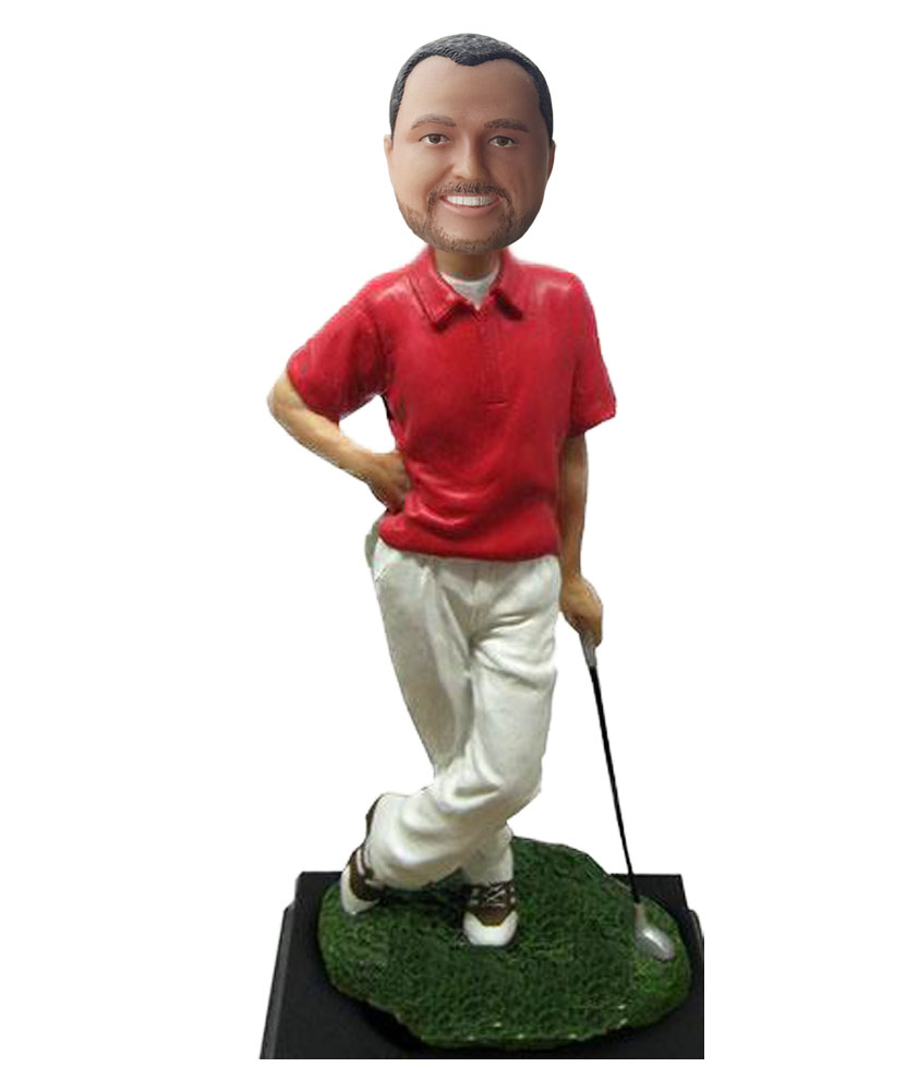 Casual Dress Male Lean On The Golf Club Bobblehead S634