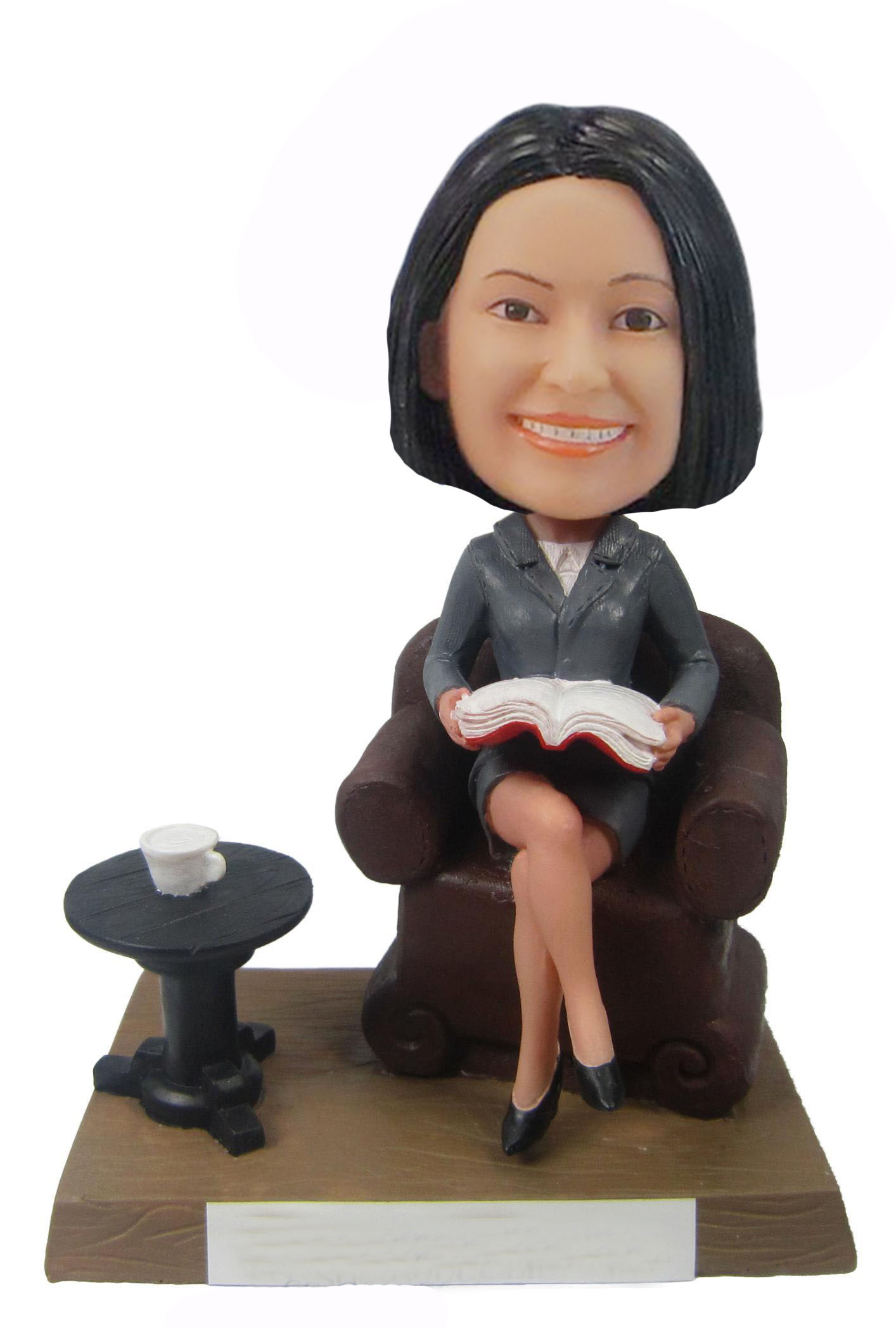 Female Bushiness Skirt Suit With Chair Bobble heads