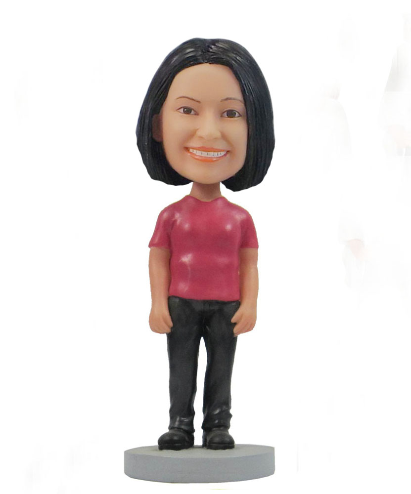Casual female red top bobblehead doll