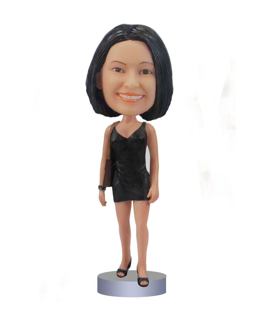 Female short dress bobbleheads bobble head drawings