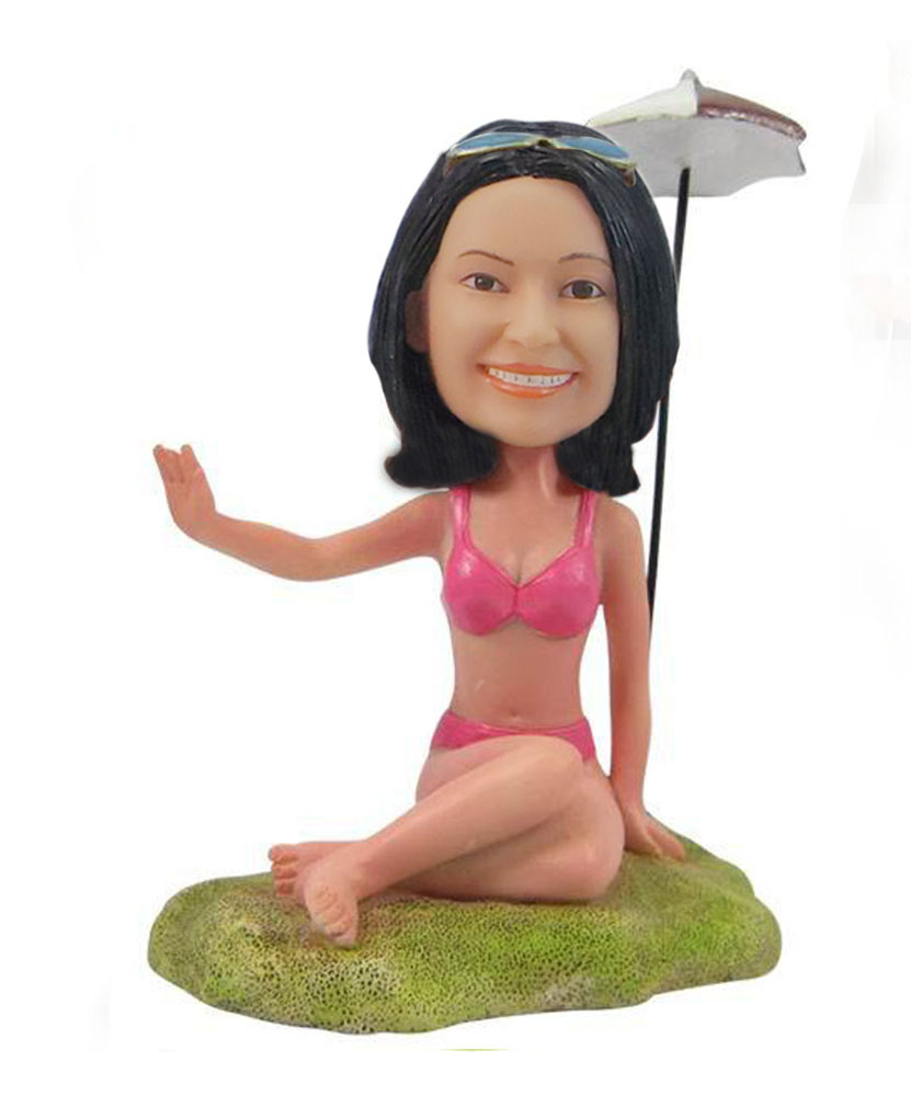 Beach Yoga Woman bobblehead Doll