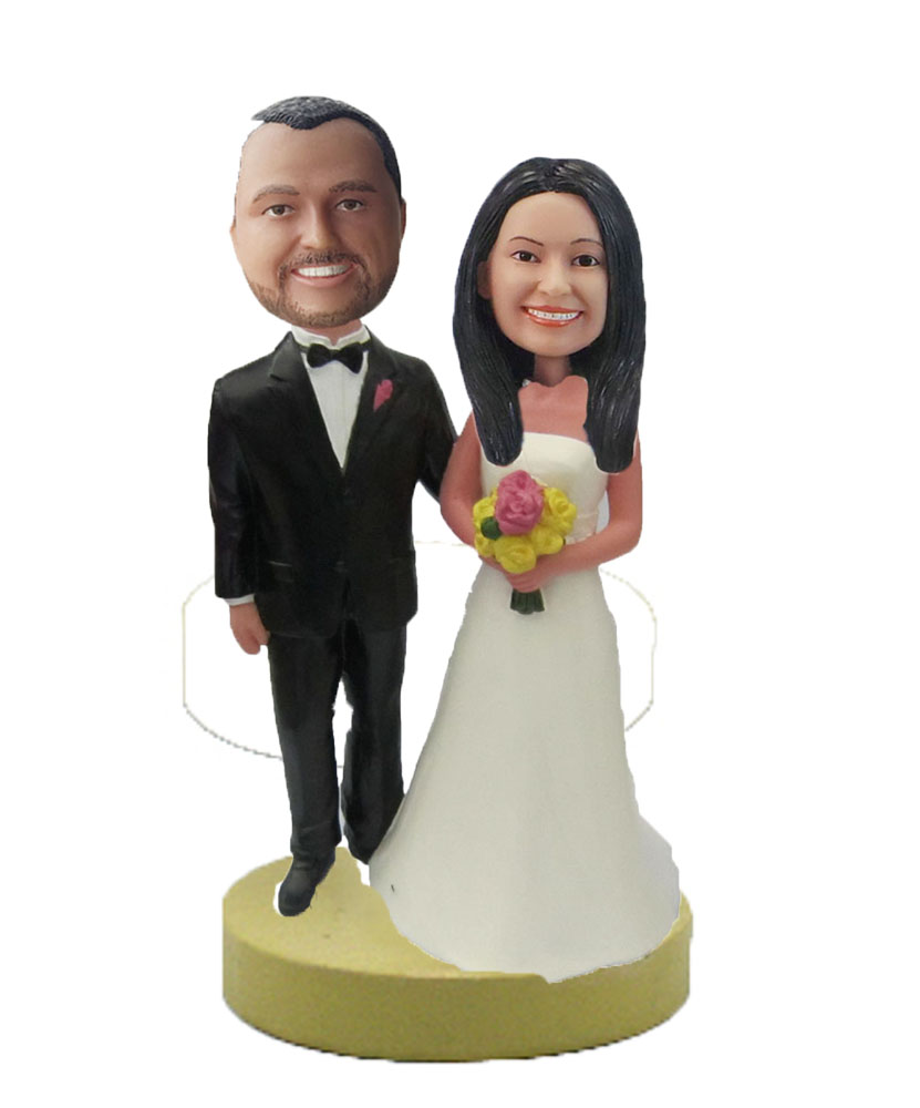 Personalized Wedding Bobbleheads In Beautilful Dress W432