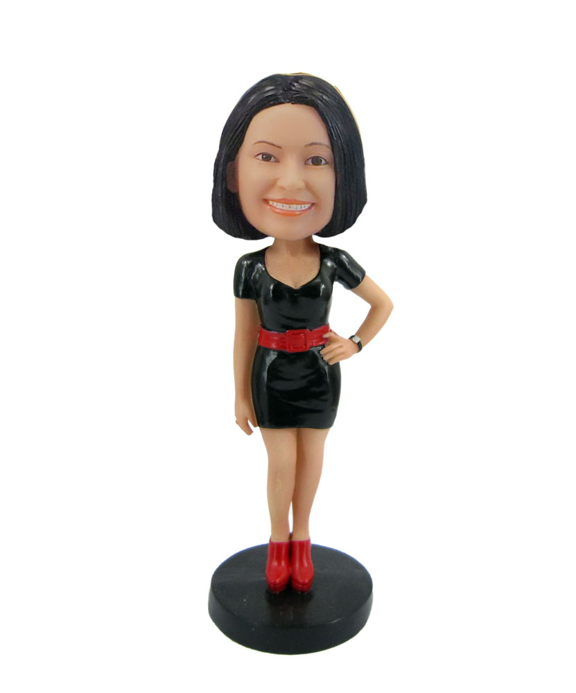 Personalized woman in black dress bobblehead F56