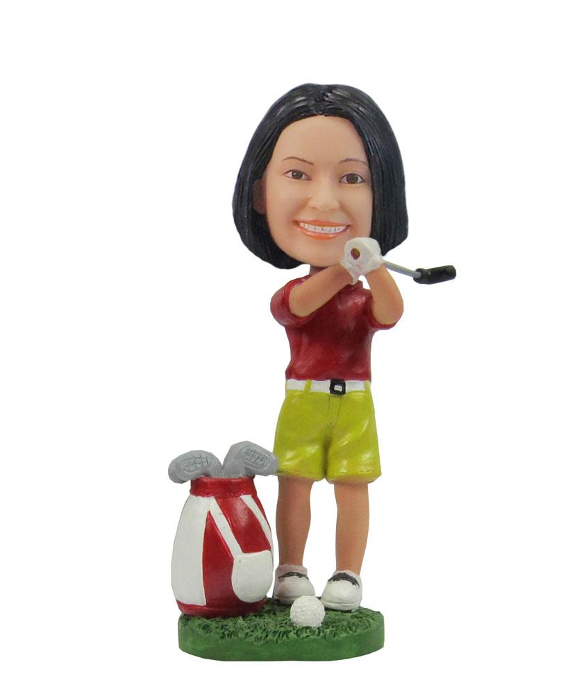 Female golfer Golfing girl sports bobblehead F90