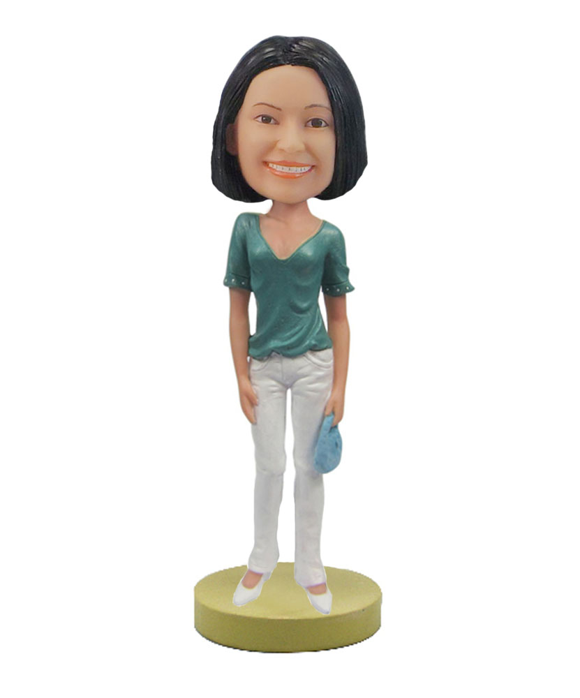 Housewife wearing green T-shirt White pants bobblehead F95