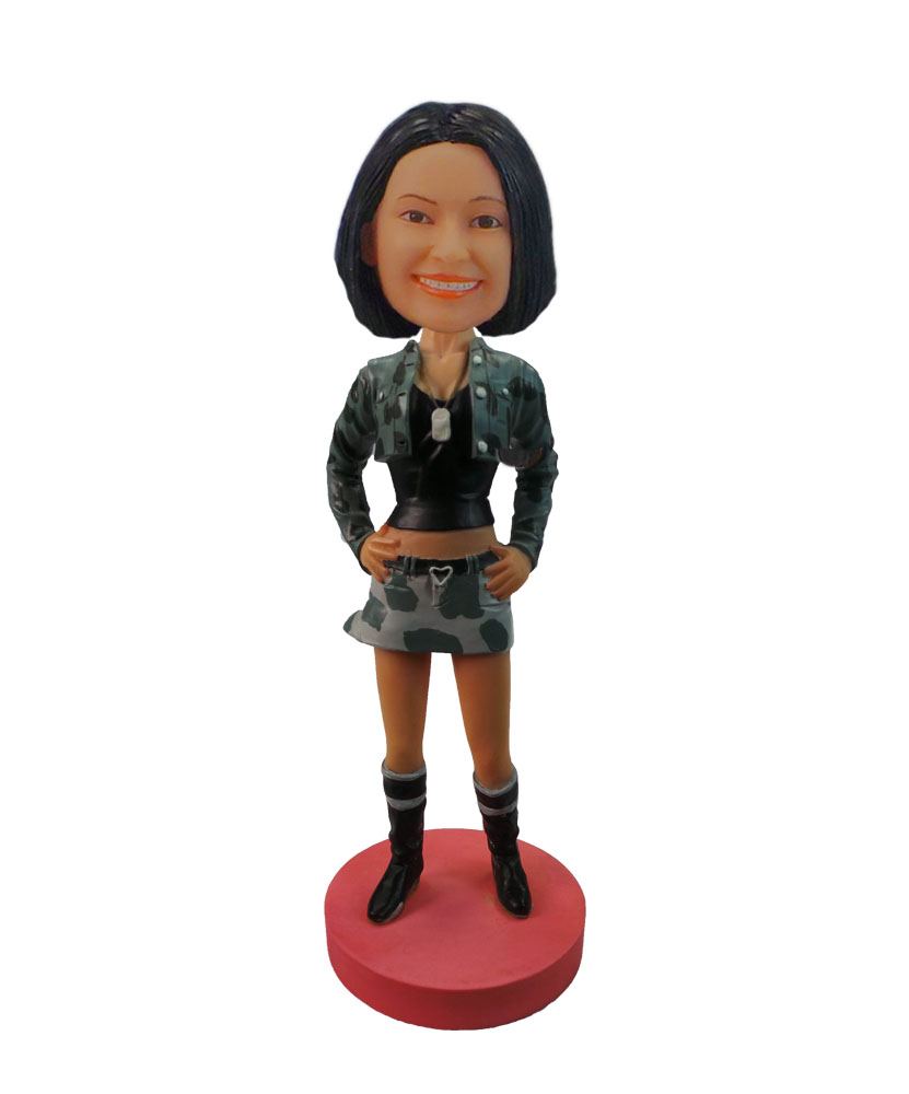 Female west cow girl Cool girl wearing camouflage pattern suit personal bobbleheads F97