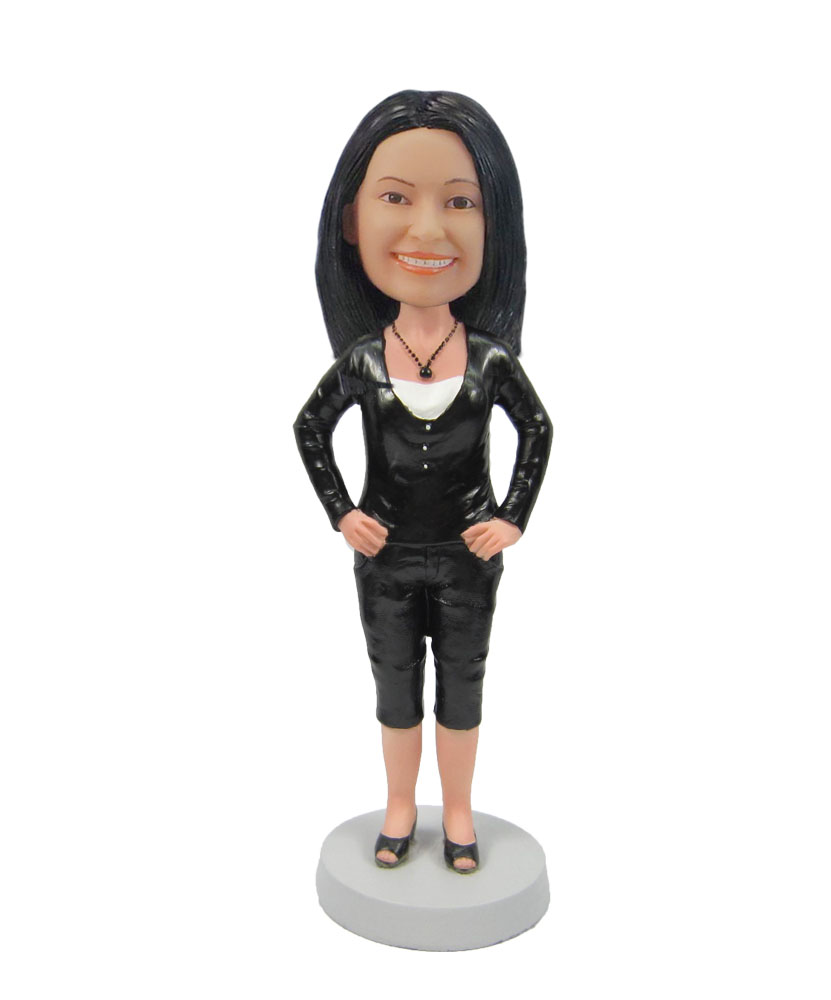 woman in black with arms akimbo custom bobblehead F99