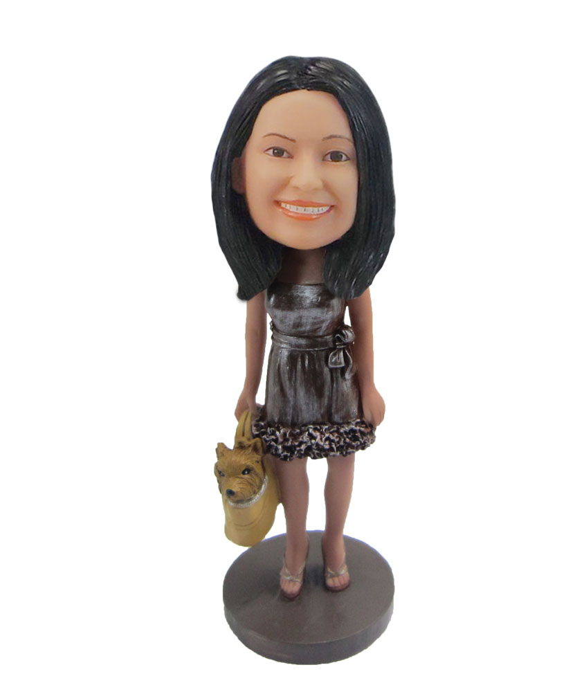 Female with cute dog in bag bobblehead F108