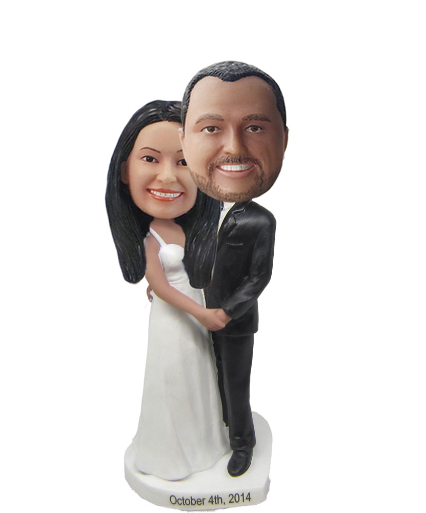 Arms Around Bride Wedding Couple bobblehead Doll W701