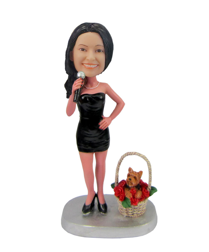 Female singer with dog flower basket bobblehead F42
