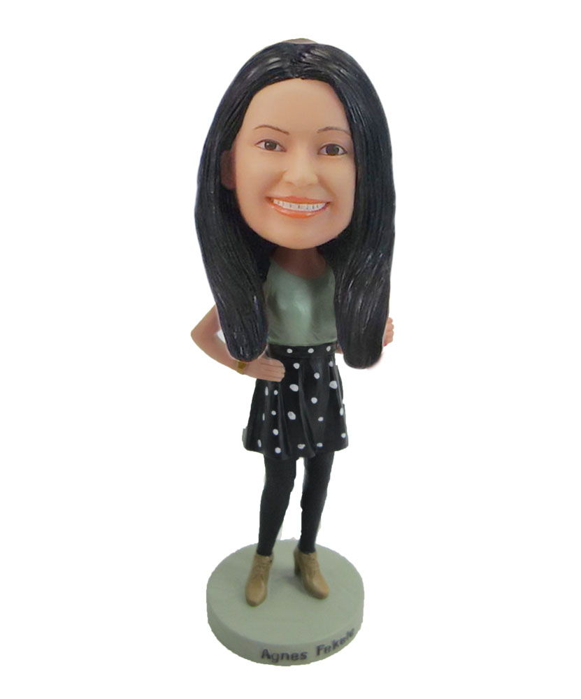 Mordern woman in dress Hands akimbo bobblehead F60