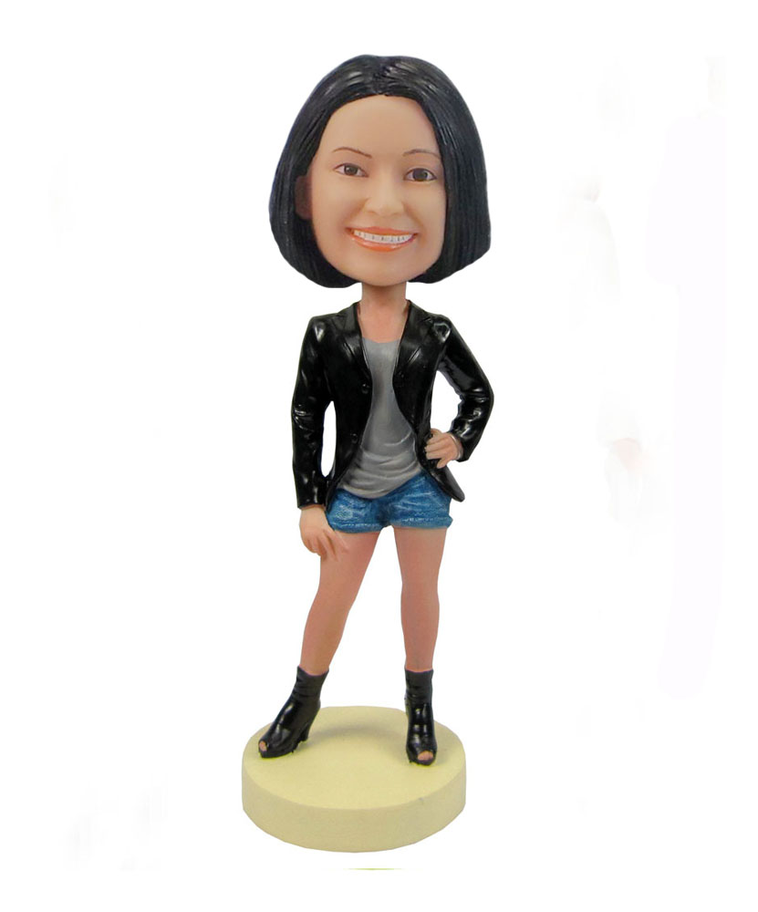 Female in short bottom black jacket bobblehead F84