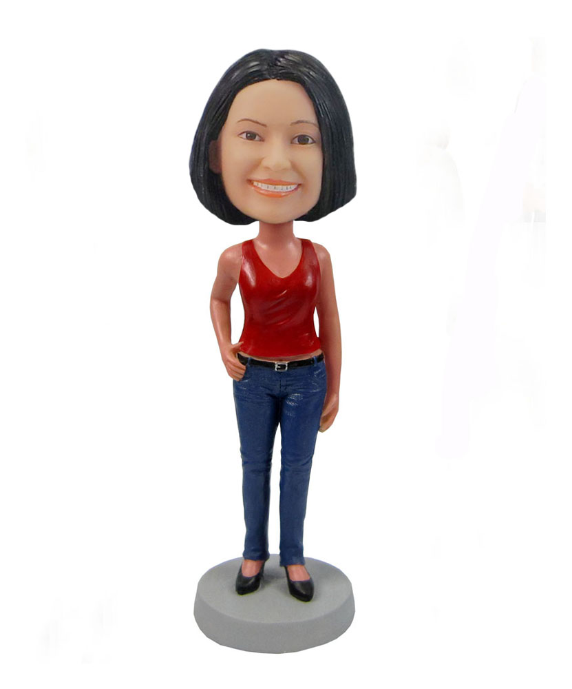 Personalized custom casual female in red vest bobblehead F85