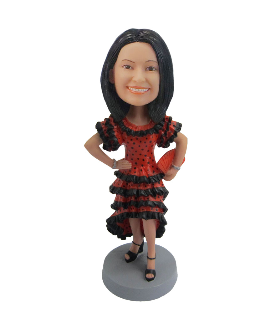 Female hot paso doble in red dress bobblehead F107