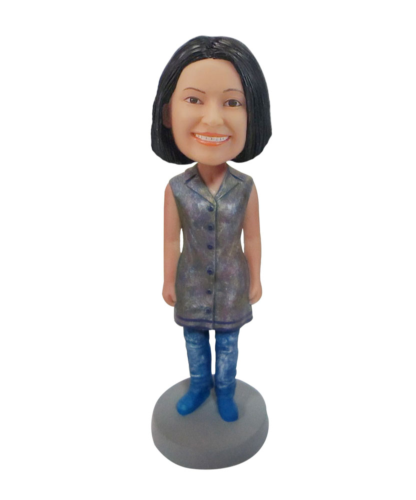 Custom female mother in Silver sleeveless jacket bobblehead F114