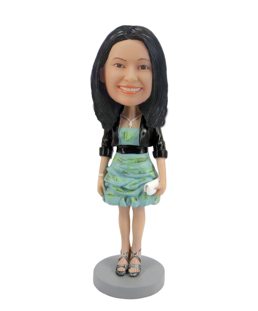 Girl bobblehead in summer style dress Dating dress up F116
