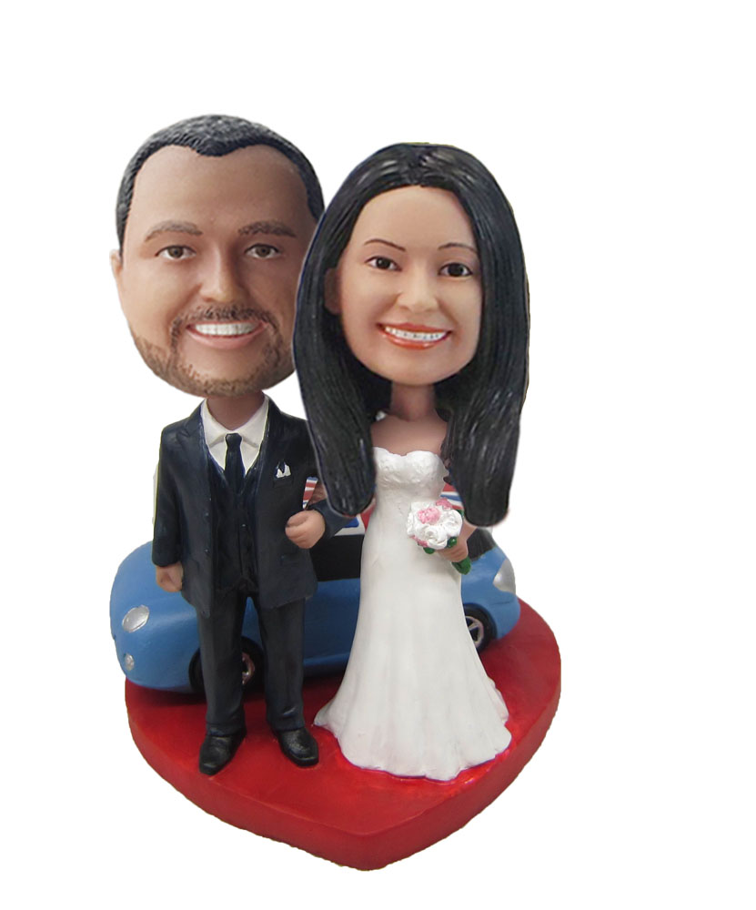 Happy Arms Linked Bride And Groom custom bobbleheads W718
