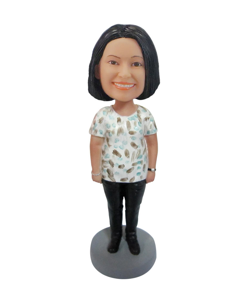 Personalized casual woman House girl bobble head doll F121