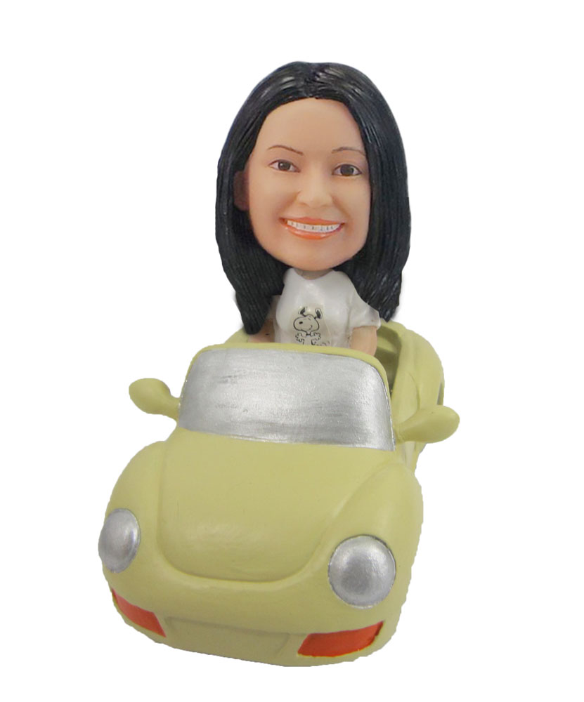 Female in car Woman driving yellow car bobble head F122