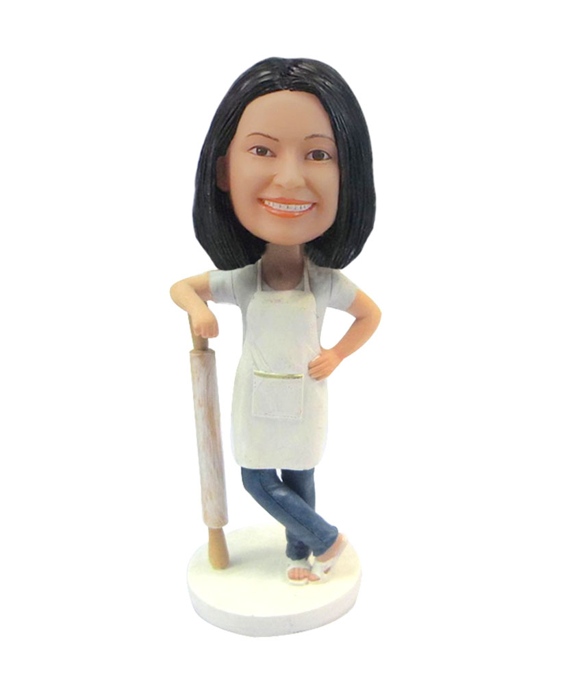 Female baker with rolling custom bobblehead F123