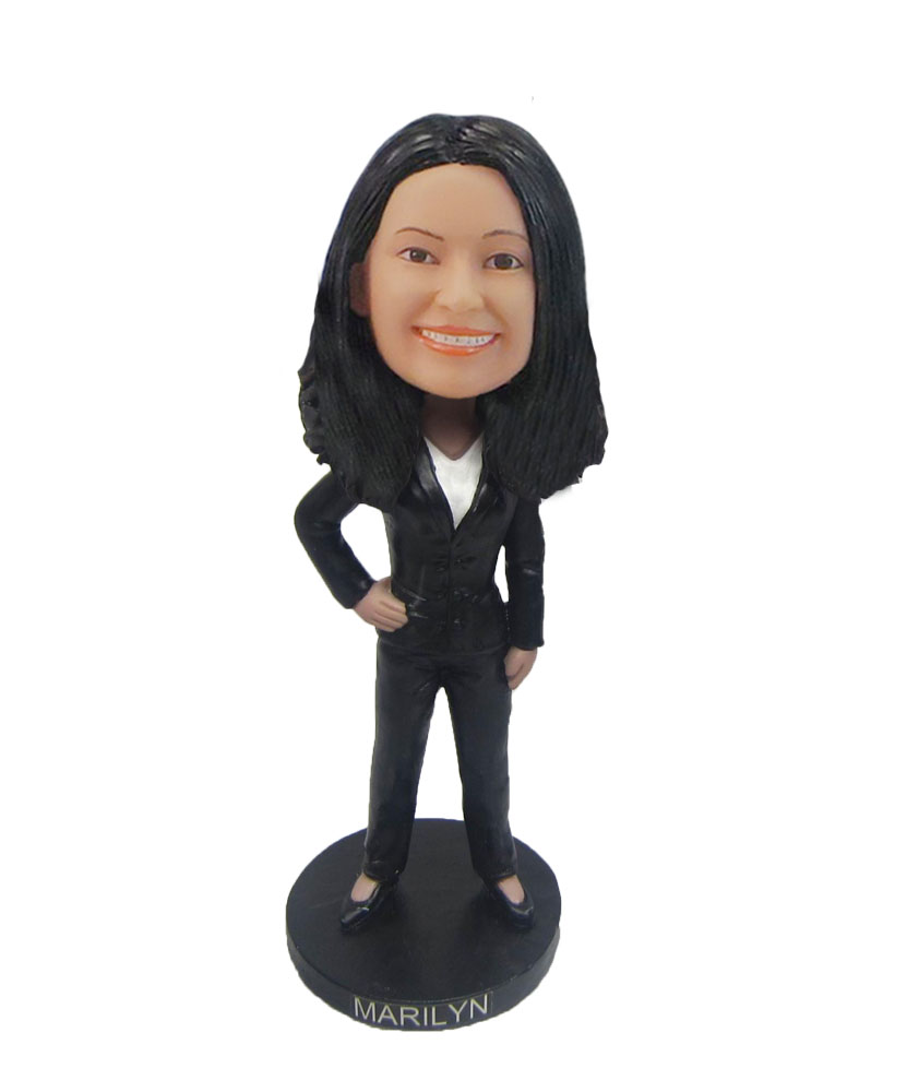 Executive female with jacket bobblehead F126