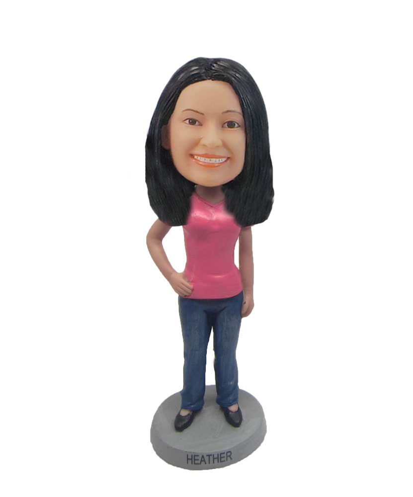 Custom Red T-shirt woman smile bobblehead F127