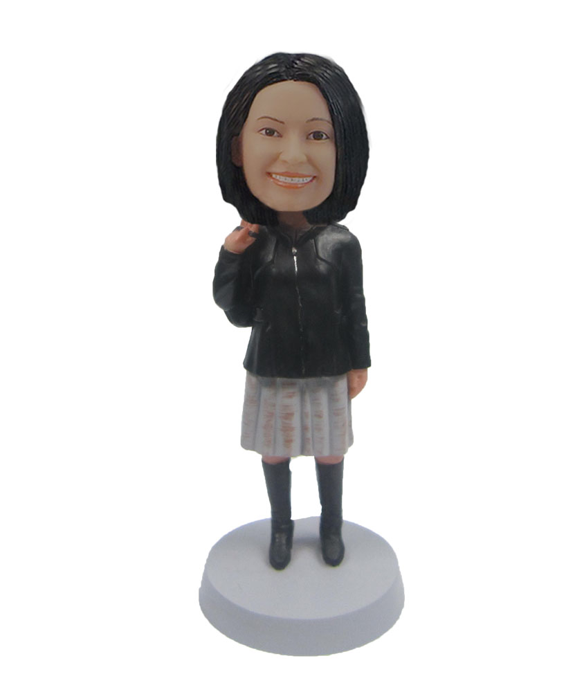 Female JK uniform Jacket and Pleated skirt boots bobbleheads F137