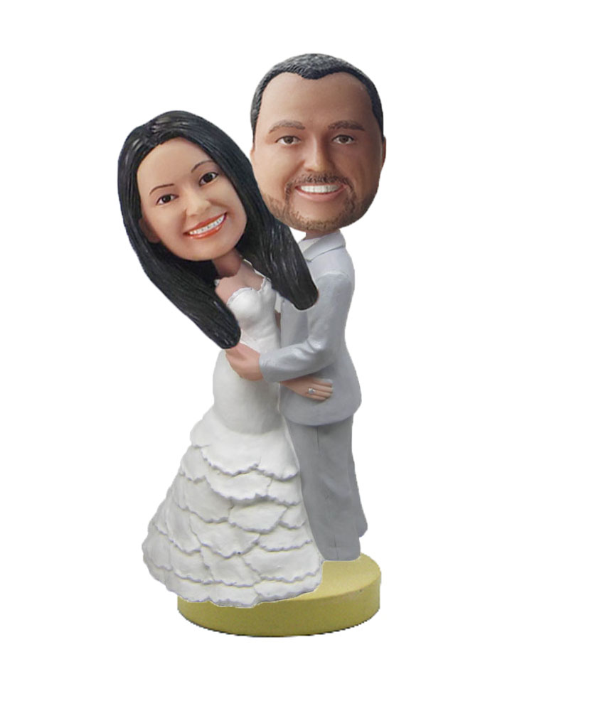 Grey Suit Groom Wedding Couple bobbleheads W487