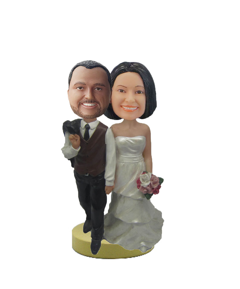 Personalized Custom Bobbleheads Of Wedding Cake W624
