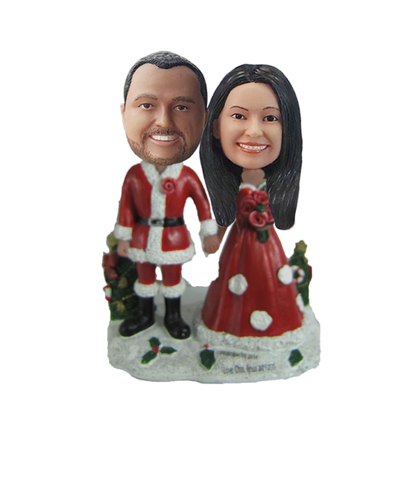Husband And Wife Santas Couple bobblehead Doll W818