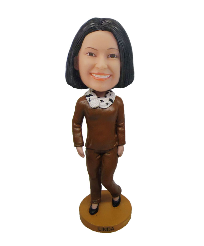 Simple shirt female your own bobblehead doll F699