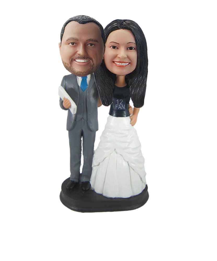 Arms Around Each Other Wedding Couple bobblehead W844