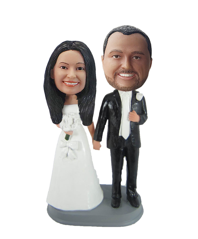 Personalized custom sweet wedding cake bobblehead dolls W848