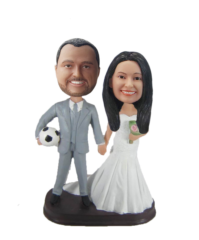 Arms Linked Bride And Groom bobblehead Doll W945