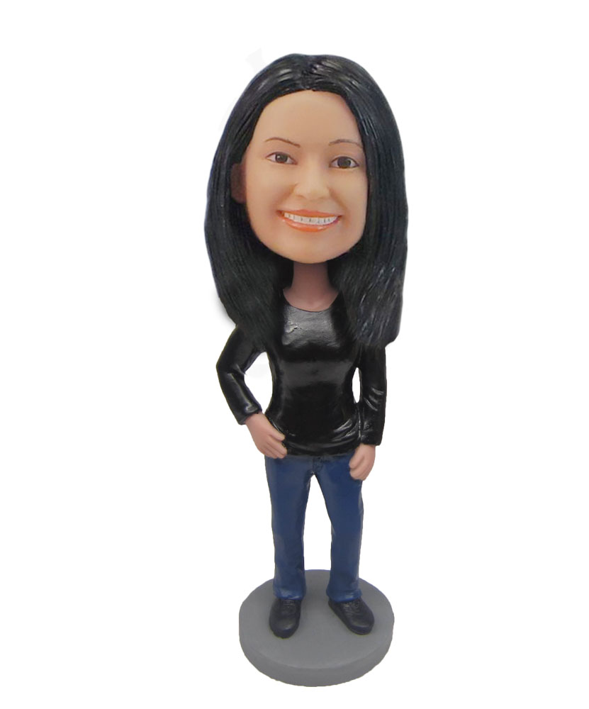 Female in Black shirt jeans bobblehead customizable doll F763