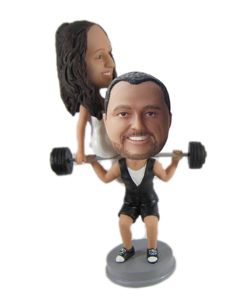 Bride and Groom Weight Lifting wedding bobbleheads W1034