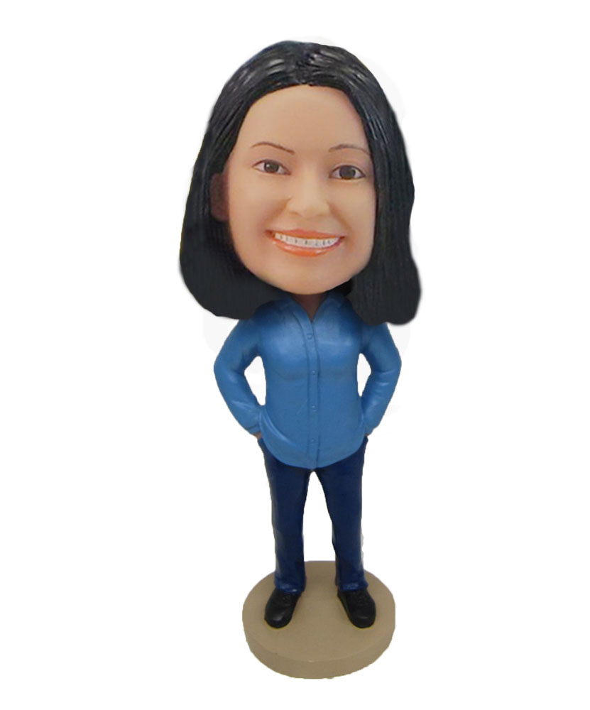 Blue suit woman personalized cheap bobble head F813