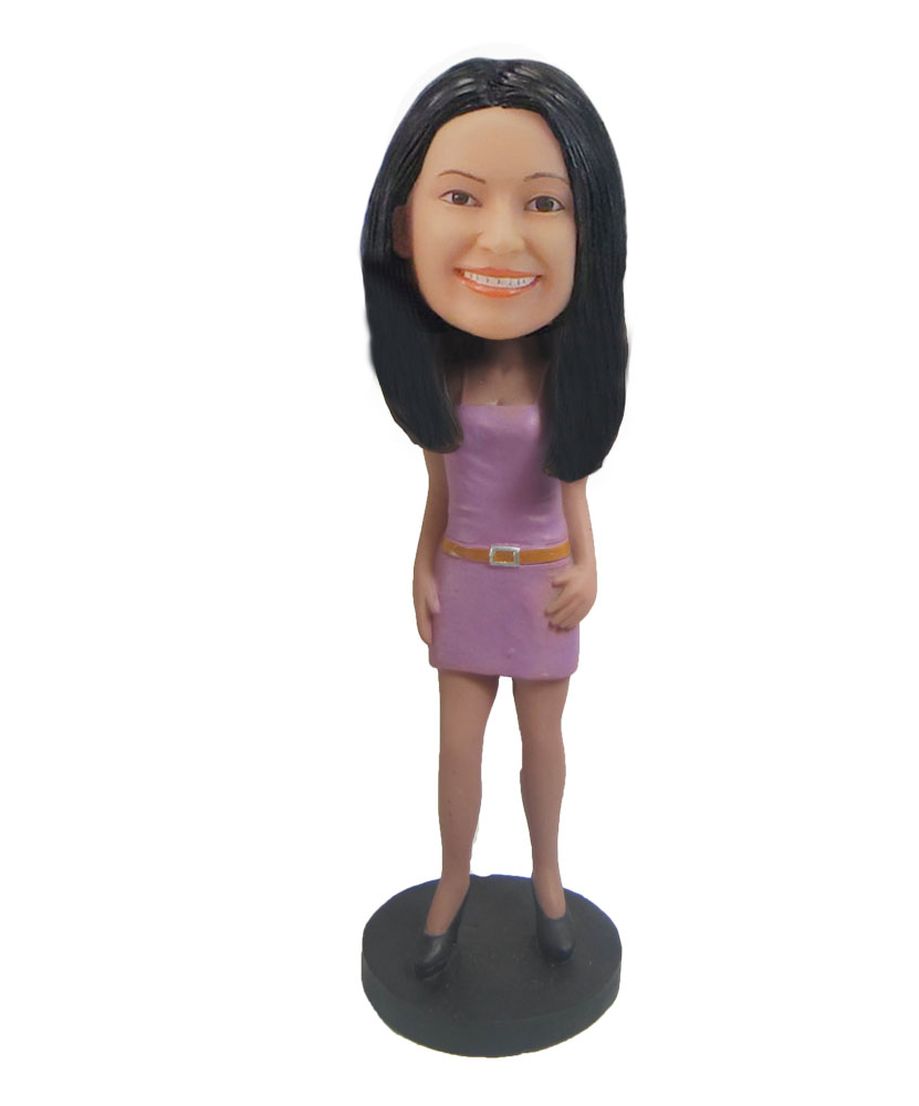 Female in pink Nightclub dress up bobblehead doll F823