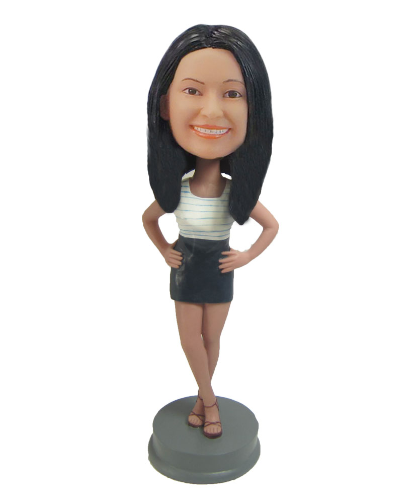 Female doll Lively Girl in Black skirt bobblehead F829